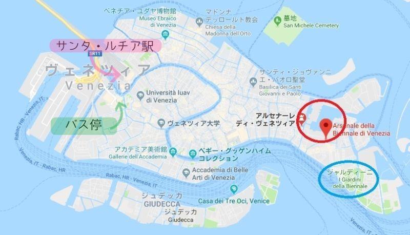 ヴェネツィア・ビエンナーレの会場の地図