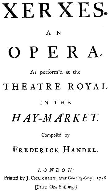 ヘンデル作曲オペラ《セルセ》初演時の台本