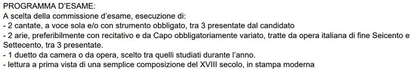 ヴェネツィア音楽院のバロック声楽科2年次試験プログラム
