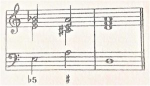 通奏低音譜例、3和音で弾く♭5