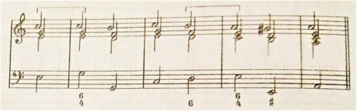 通奏低音の数字4-6の和音のバス譜例のリアリゼーション例