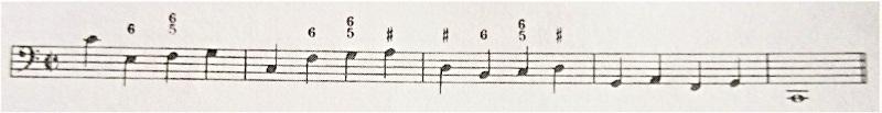 通奏低音、56の数字が付いた譜例