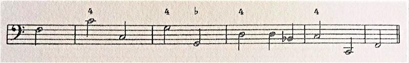 通奏低音の数字4が付いたバッソ譜例