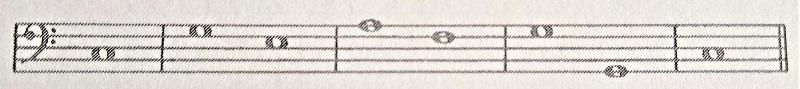通奏低音、基本形の和音(fondamentale)バス譜例