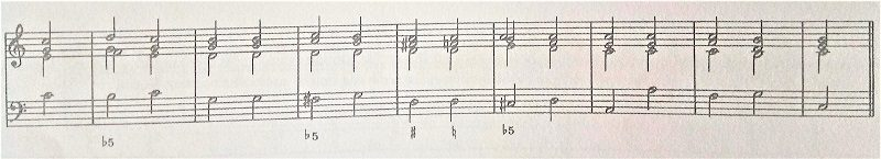 通奏低音バス減5度の譜例、リアリゼーション例