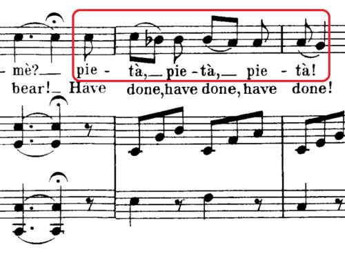 Nel cor pìù non mi sentoの「pietà」の歌詞部分の譜面