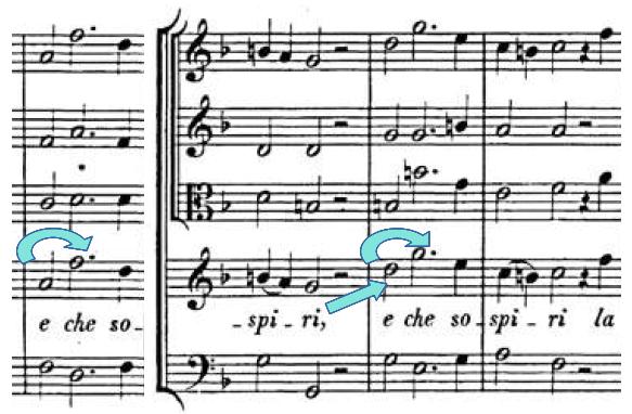 Lascia ch'io piangaの楽譜、9~12小節