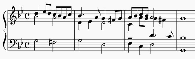 通奏低音の伴奏「アマリッリ」のイントロ例