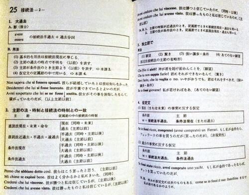 『インデックス式イタリア文法表』の接続法のページ