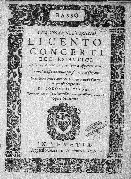 1602年にヴェネツィアで出版されたヴィアダーナの曲集表紙