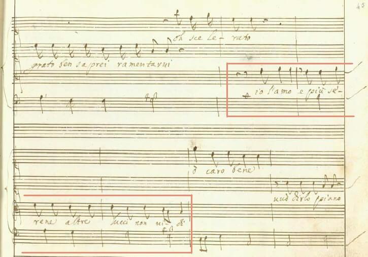カヴァッリ《セルセ》第一幕13場レチタティーヴォ4頁目