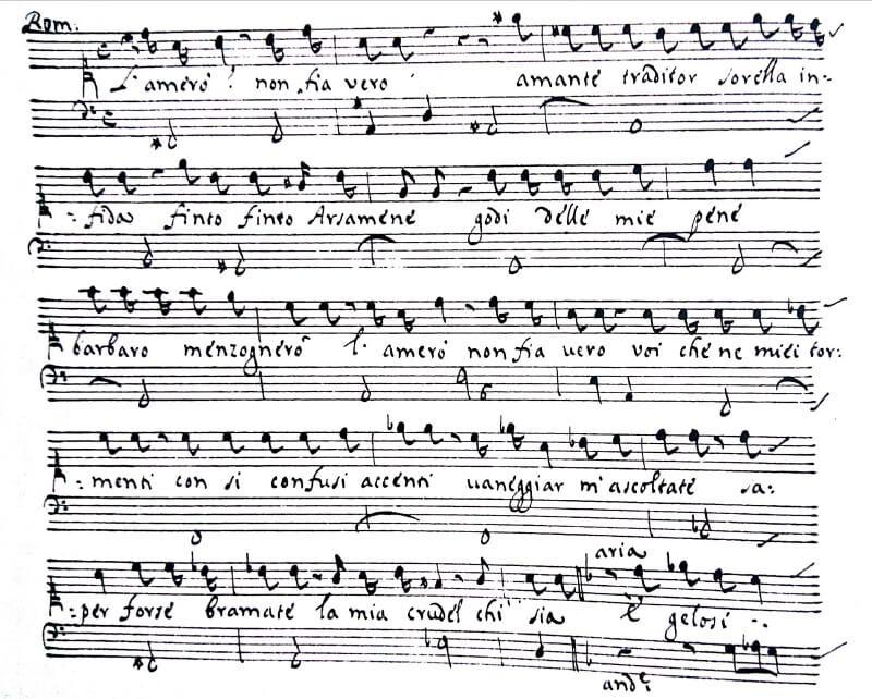 ボノンチーニ《セルセ》第二幕4場レチタティーヴォ L'amerò? Non fia vero.(ロミルダ)の楽譜