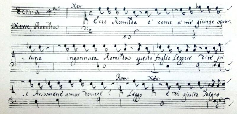 ボノンチーニ《セルセ》第二幕第4場レチタティーヴォの楽譜