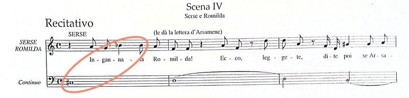 ヘンデル《セルセ》第二幕第4場レチタティーヴォ冒頭部分の楽譜