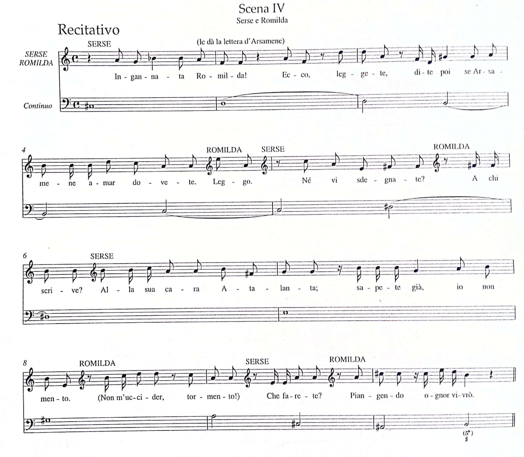 ヘンデル《セルセ》第二幕第4場レチタティーヴォの楽譜