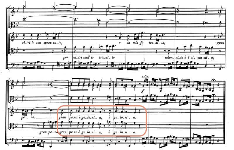 ヘンデル《セルセ》第二幕12場デュエット Gran pena è gelosia (セルセ、アマストレ)終わりの部分の楽譜